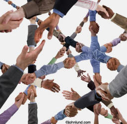 Picture of social networking - image of many hands shakiing concept